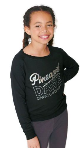 PINEAPPLE DANCEWEAR Girls Long Sleeved Retro Dance Jumper Black Silver Diamantes